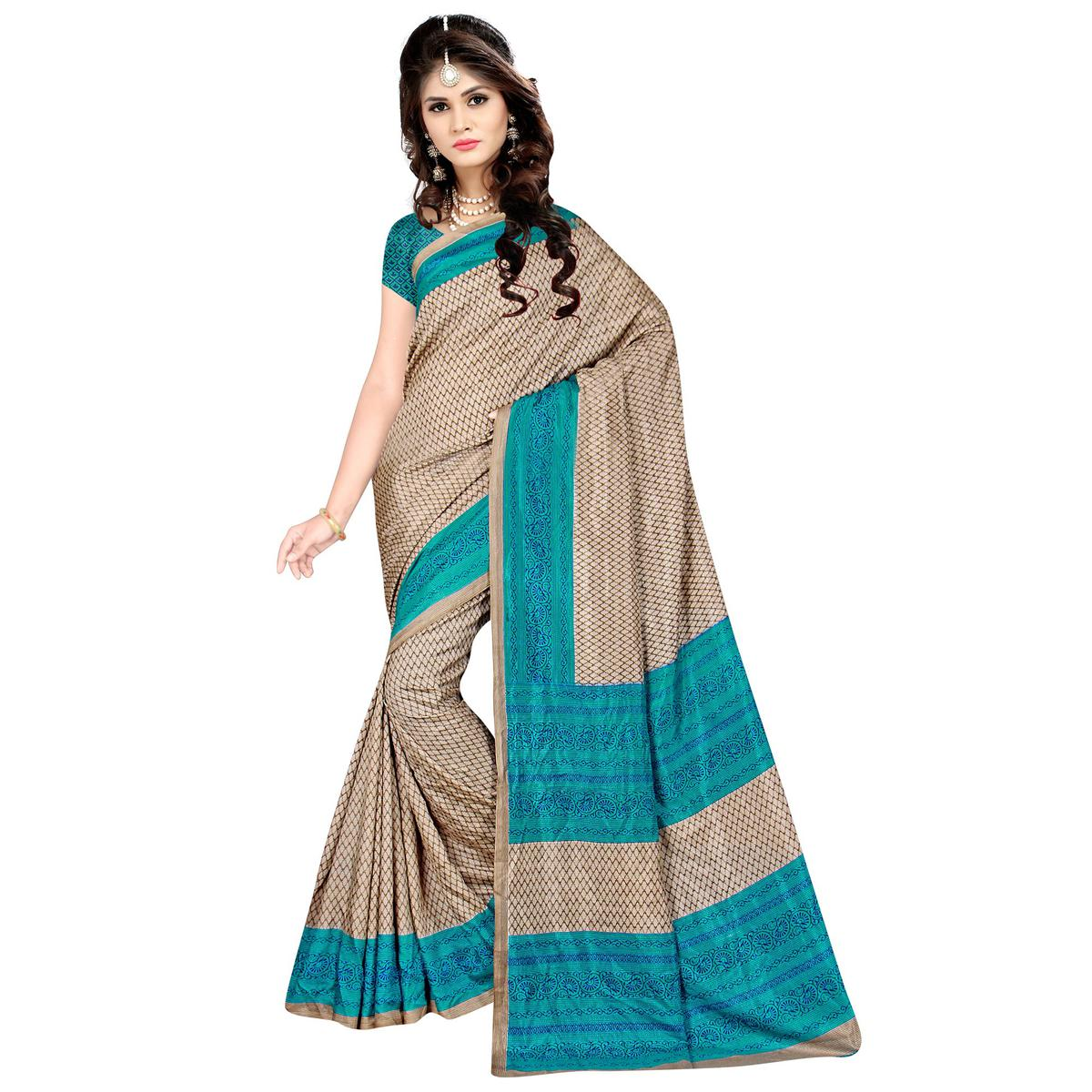 Breathtaking Beige Colored Casual Wear Printed Malgudi Silk Saree
