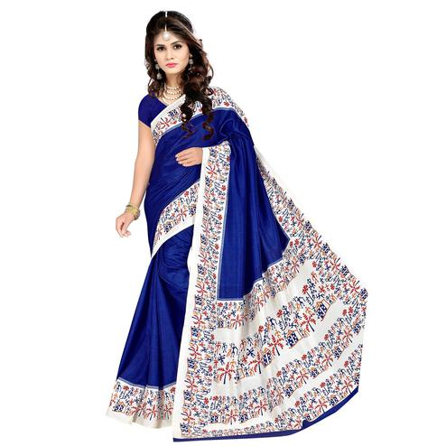 Impressive Royal Blue Colored Casual Wear Printed Malgudi Silk Saree