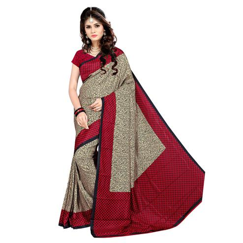 Innovative Beige - Red Colored Casual Wear Printed Malgudi Silk Saree