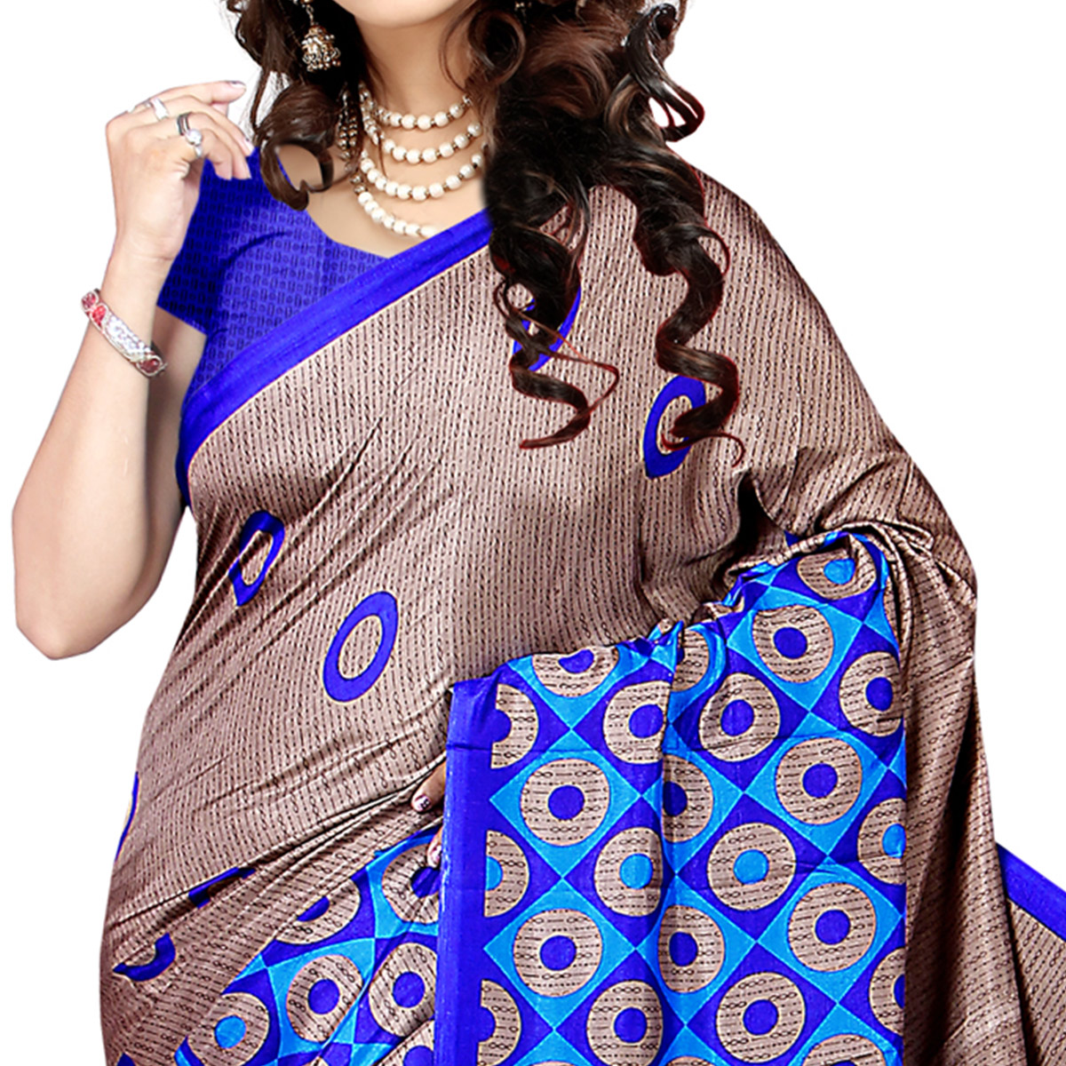 Gleaming Beige Colored Casual Wear Printed Malgudi Silk Saree