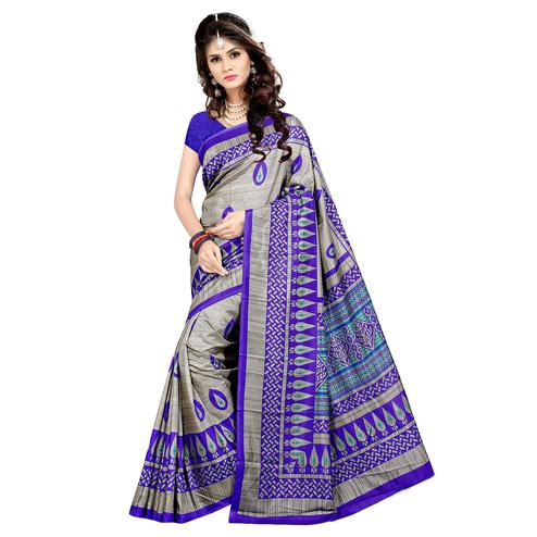 Arresting Grey - Purple Colored Casual Wear Printed Malgudi Silk Saree