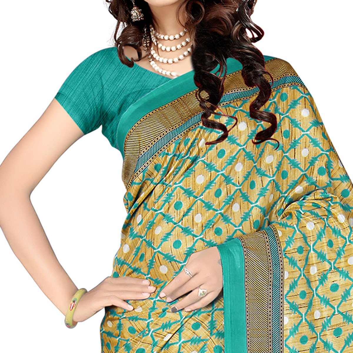 Starring Beige - Rama Green Colored Casual Wear Printed Malgudi Silk Saree