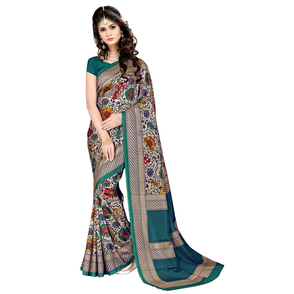 Starring Cream - Teal Green Colored Casual Wear Printed Malgudi Silk Saree