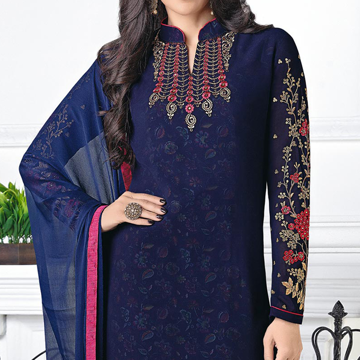 Beautiful Navy Designer Embroidered Faux Georgette Salwar Suit