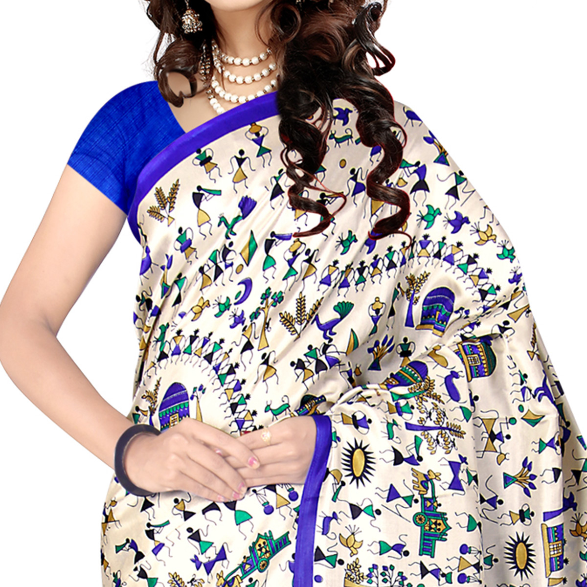 Entrancing White - Blue Colored Casual Wear Printed Malgudi Silk Saree