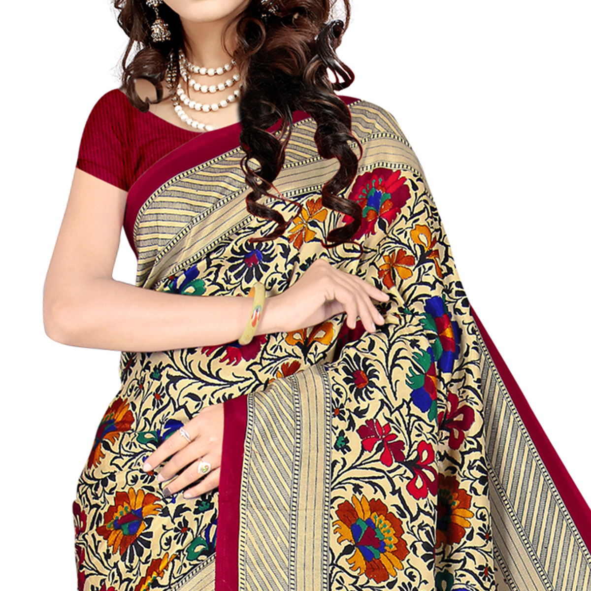 Blissful Beige - Red Colored Casual Wear Printed Malgudi Silk Saree