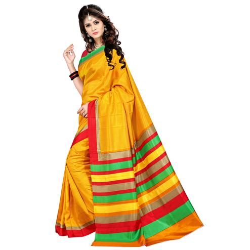 Ideal Yellow Colored Casual Wear Printed Malgudi Silk Saree