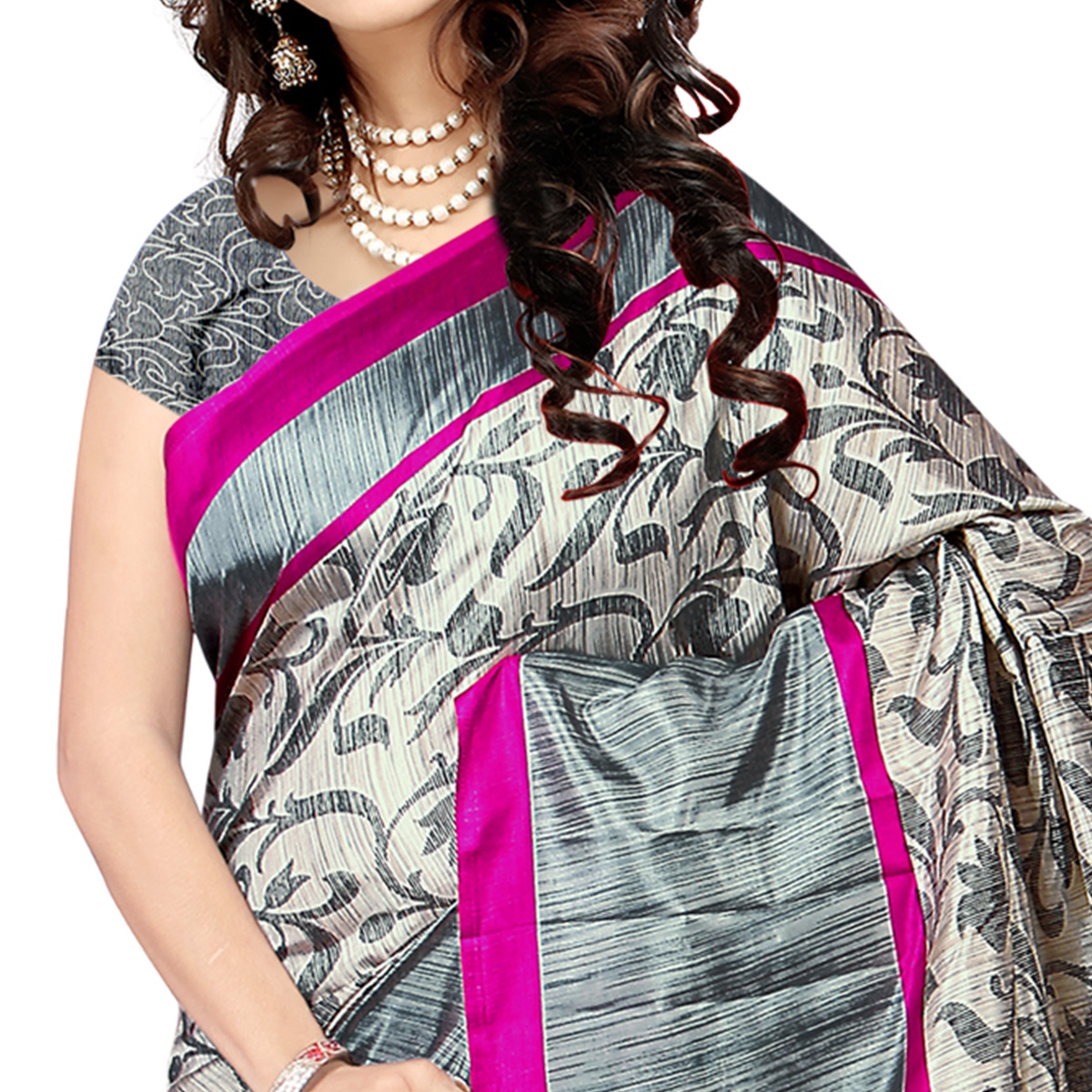 Fantastic Grey Colored Casual Wear Printed Malgudi Silk Saree