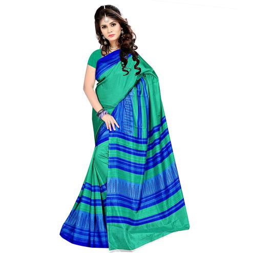 Staring Turquoise Green Colored Casual Wear Printed Malgudi Silk Saree
