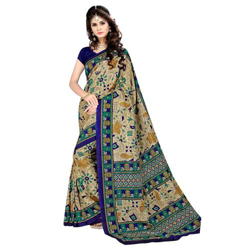 Pleasance Beige - Blue Colored Casual Wear Printed Malgudi Silk Saree