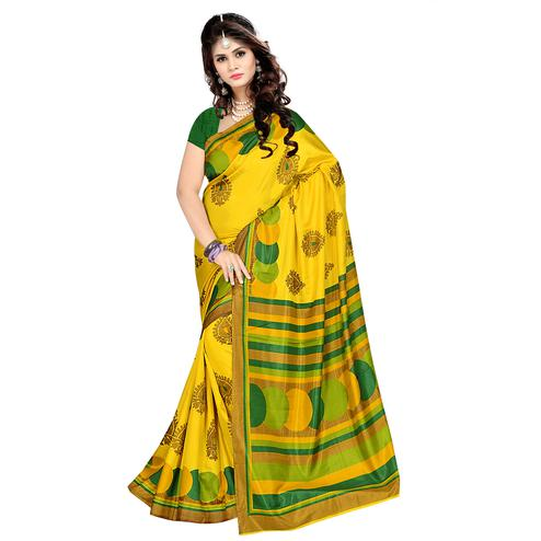 Flattering Yellow Colored Casual Wear Printed Malgudi Silk Saree
