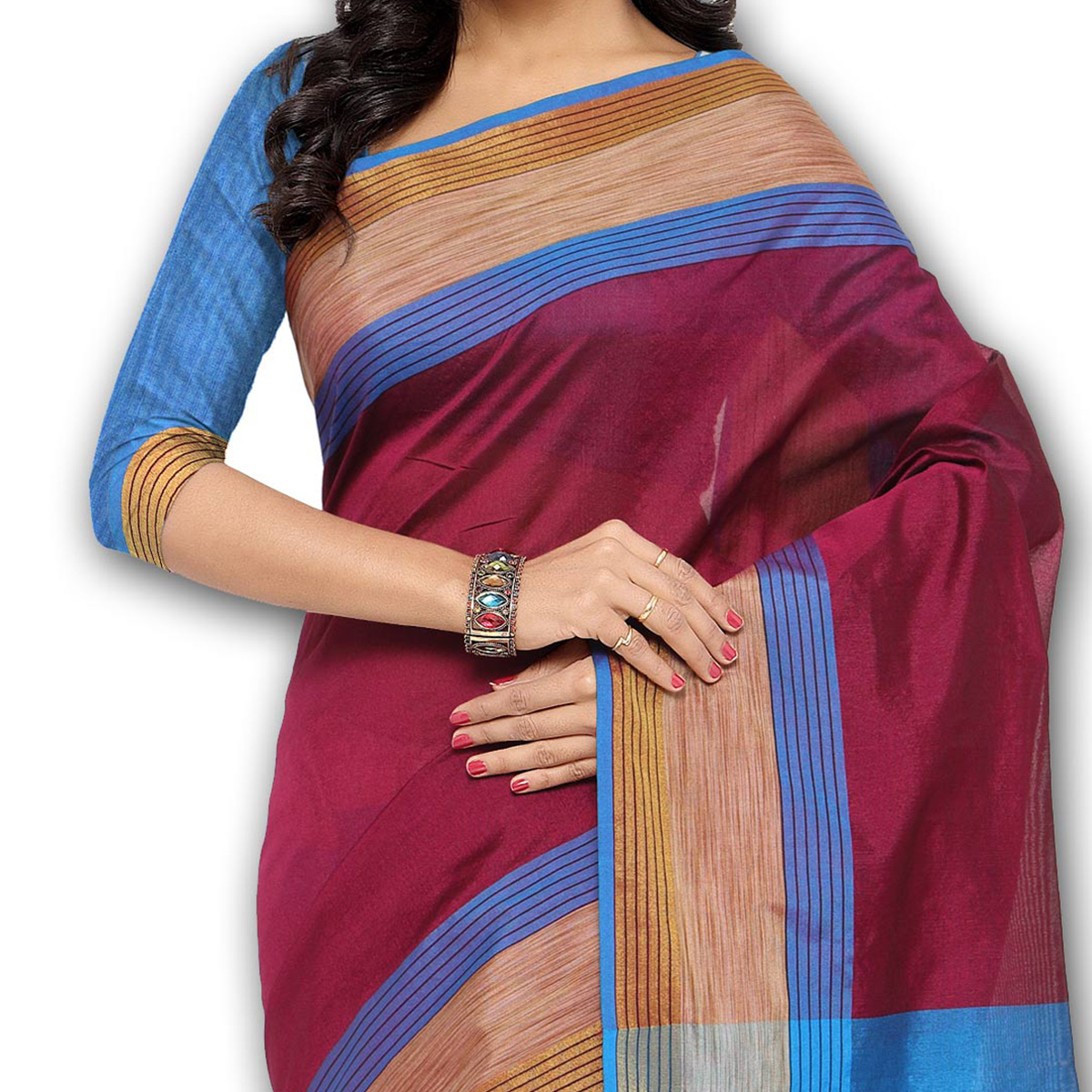 Maroon Casual Wear Woven Saree