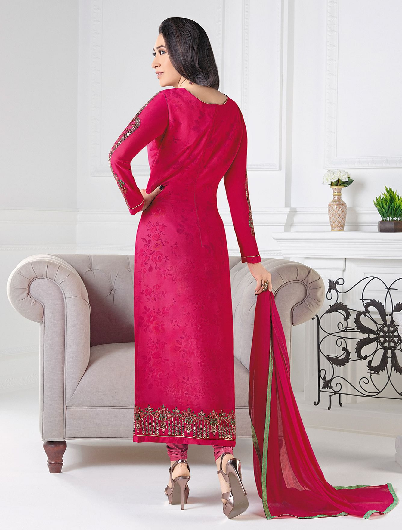 Lovely Rani Pink Designer Embroidered Faux Georgette Salwar Suit