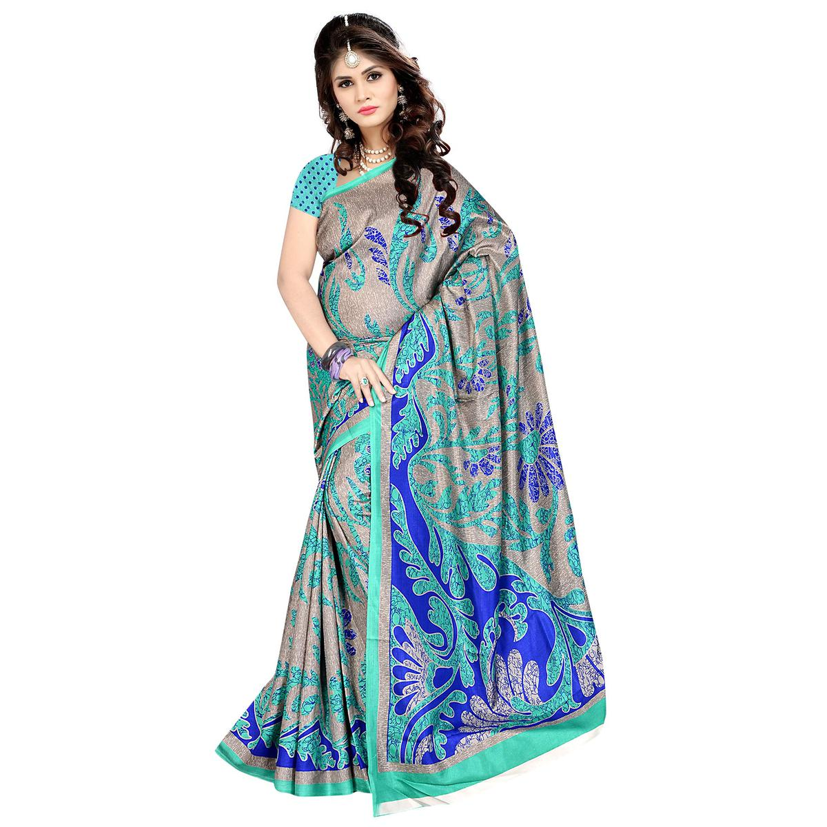 Breathtaking Grey - Turquoise Colored Casual Wear Printed Malgudi Silk Saree