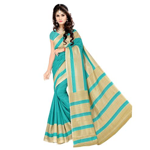 Impressive Turquoise Colored Casual Wear Printed Malgudi Silk Saree