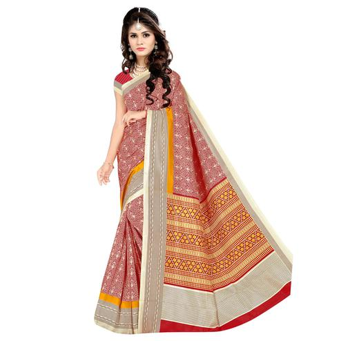 Innovative Red Colored Casual Wear Printed Malgudi Silk Saree
