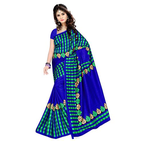 Arresting Royal Blue Colored Casual Wear Printed Malgudi Silk Saree