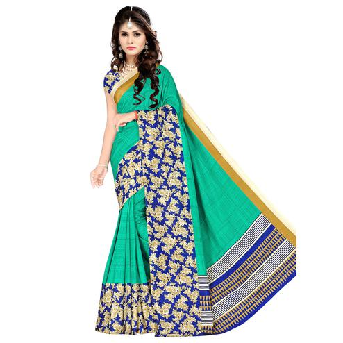 Exceptional Green Colored Casual Wear Printed Malgudi Silk Saree