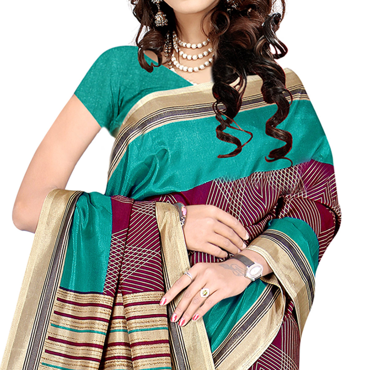 Excellent Wine Colored Casual Wear Printed Malgudi Silk Saree