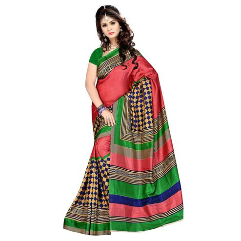 Ethnic Multi Colored Casual Wear Printed Malgudi Silk Saree