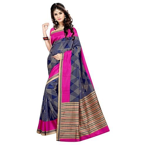 Starring Navy Blue Colored Casual Wear Printed Malgudi Silk Saree