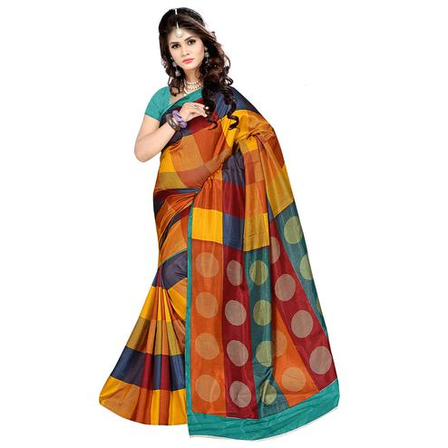 Surpassing Multi Colored Casual Wear Printed Malgudi Silk Saree