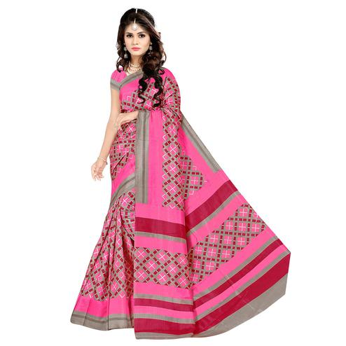 Entrancing Pink Colored Casual Wear Printed Malgudi Silk Saree