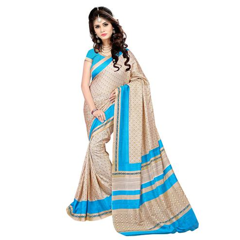 Imposing Cream Colored Casual Wear Printed Malgudi Silk Saree