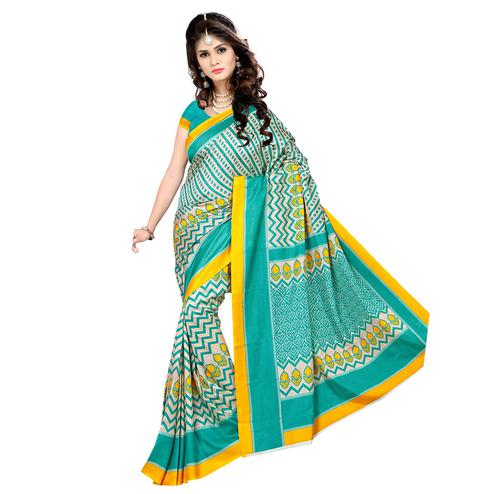 Ideal Turquoise Green Colored Casual Wear Printed Malgudi Silk Saree