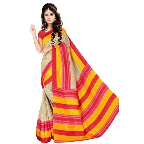 Engrossing Beige Colored Casual Wear Printed Malgudi Silk Saree