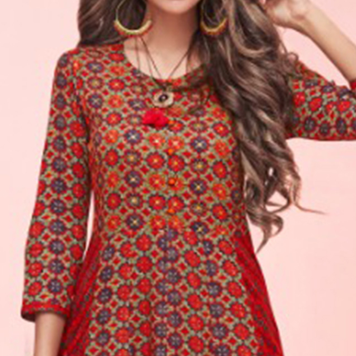 Gorgeous Maroon Colored Partywear Printed Rayon Long Kurti