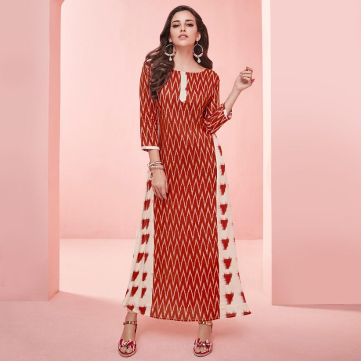 993c684d2d Buy Impressive Red Colored Partywear Printed Rayon Long Kurti for womens  online India, Best Prices, Reviews - Peachmode