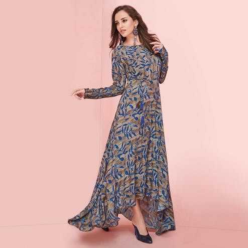 Demanding Gray Colored Partywear Printed Rayon Long Kurti
