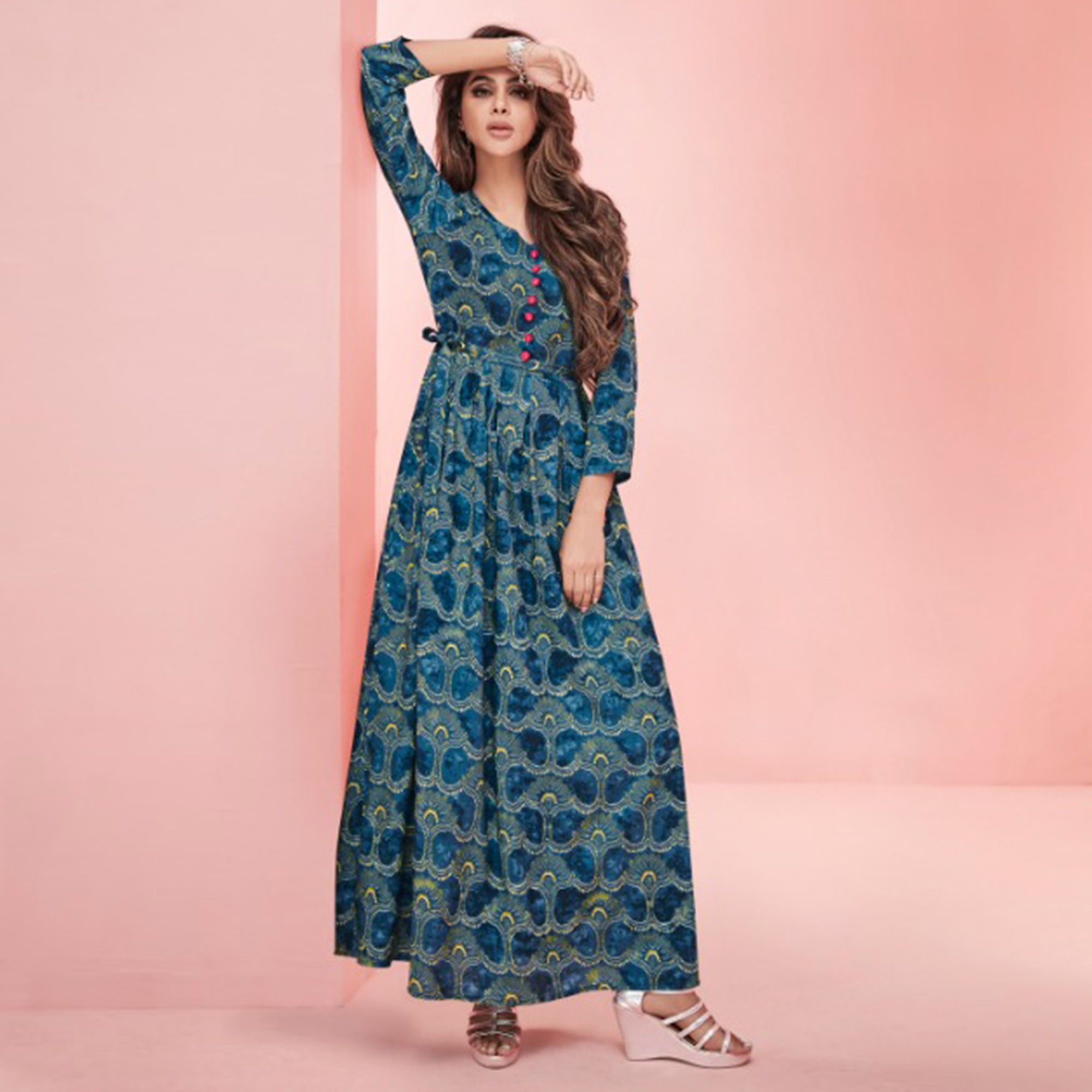 Appealing Pastel Blue Colored Partywear Printed Rayon Long Kurti