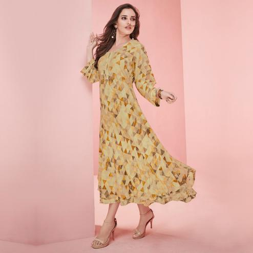 Flaunt Beige Colored Partywear Printed Rayon Long Kurti