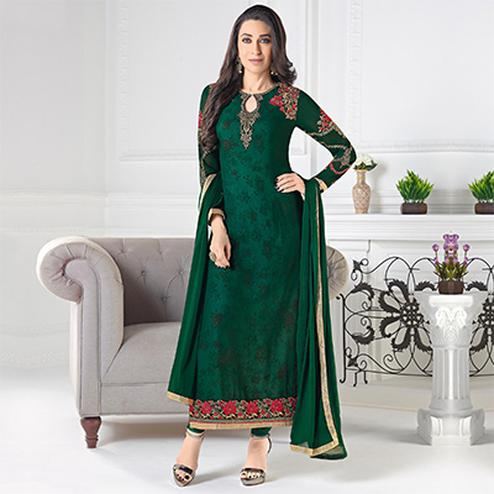 Regal Green Designer Embroidered Faux Georgette Salwar Suit