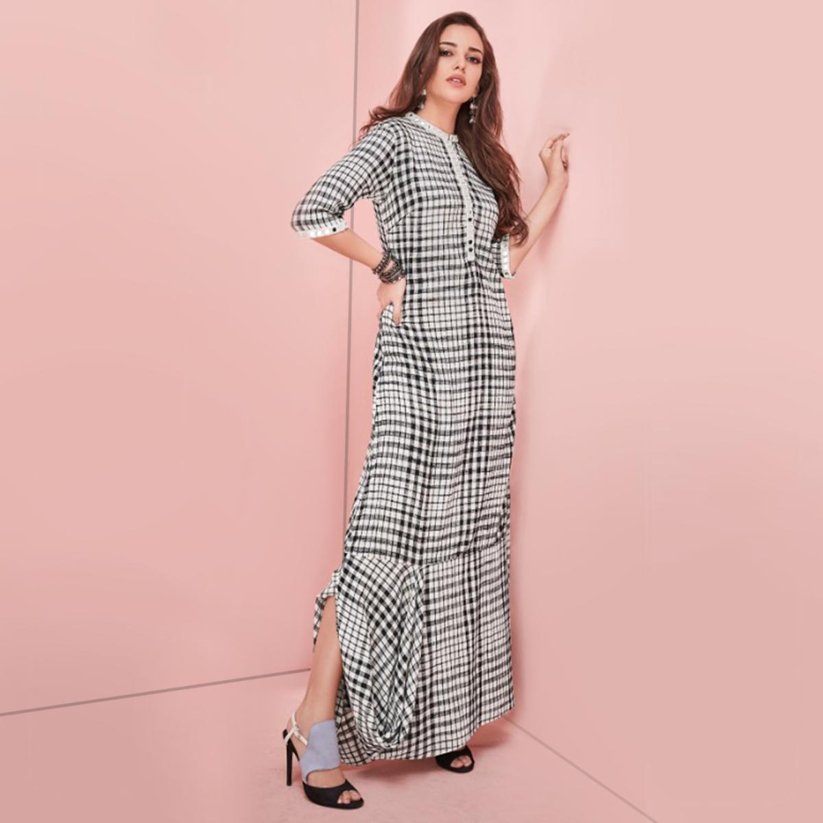 Arresting Black-White Colored Partywear Printed Rayon Long Kurti