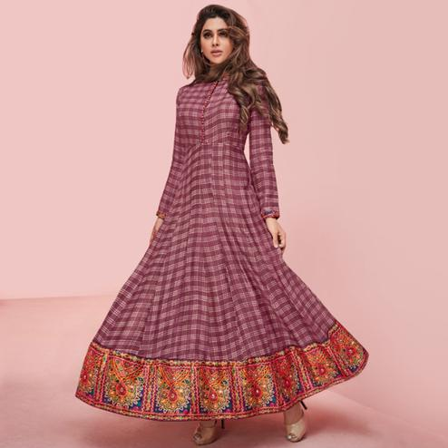 Fantastic Wine Colored Partywear Printed Rayon Long Kurti