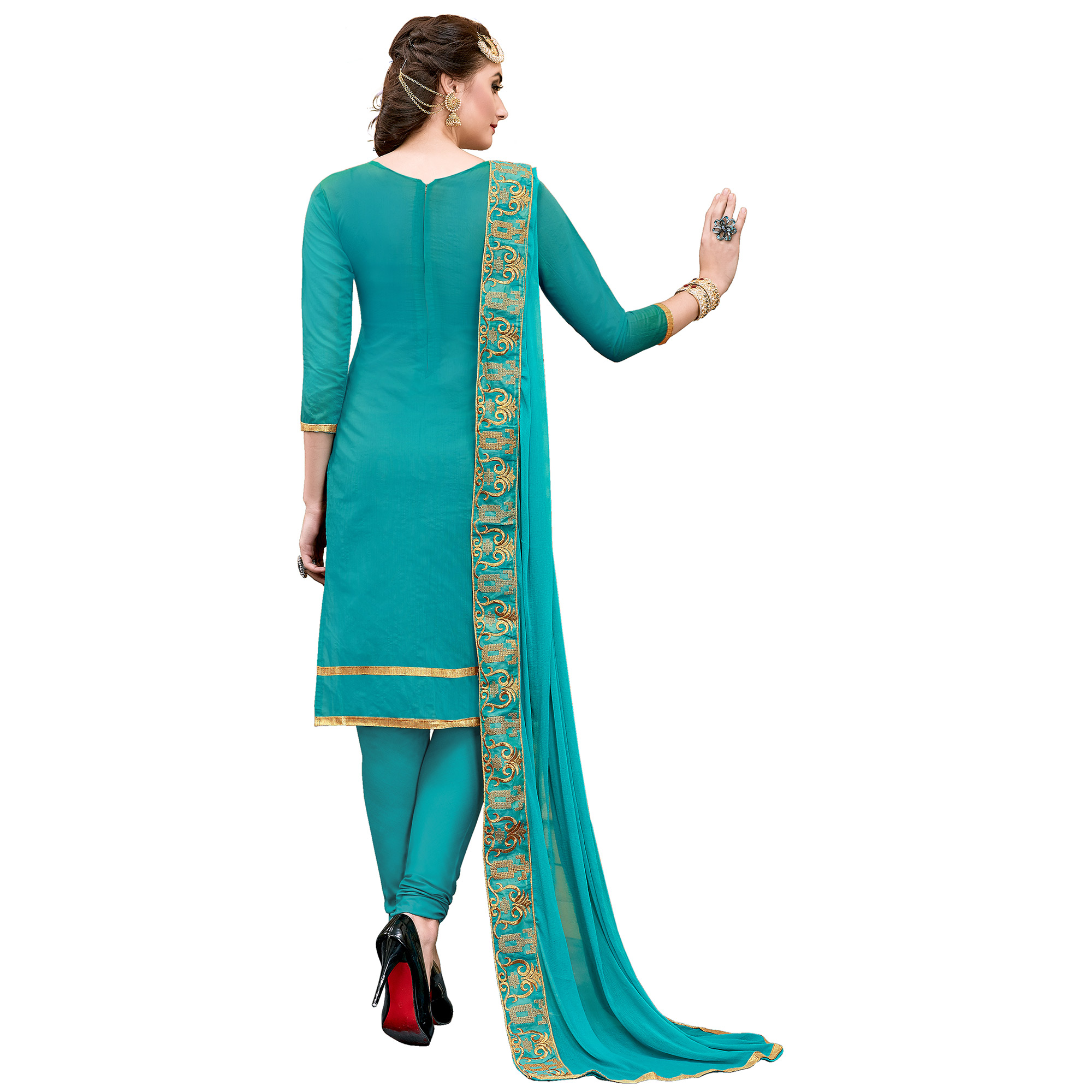 Intricate Rama Green Colored Party Wear Embroidered Modal Dress Material