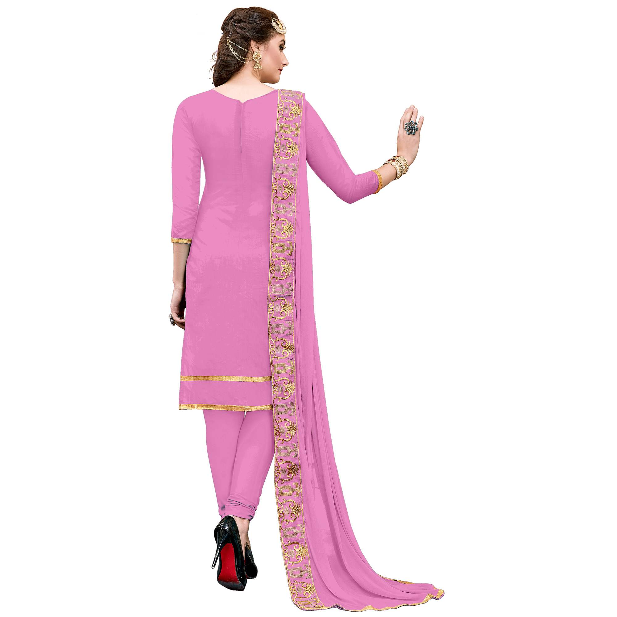 Desirable Light Pink Colored Party Wear Embroidered Modal Dress Material