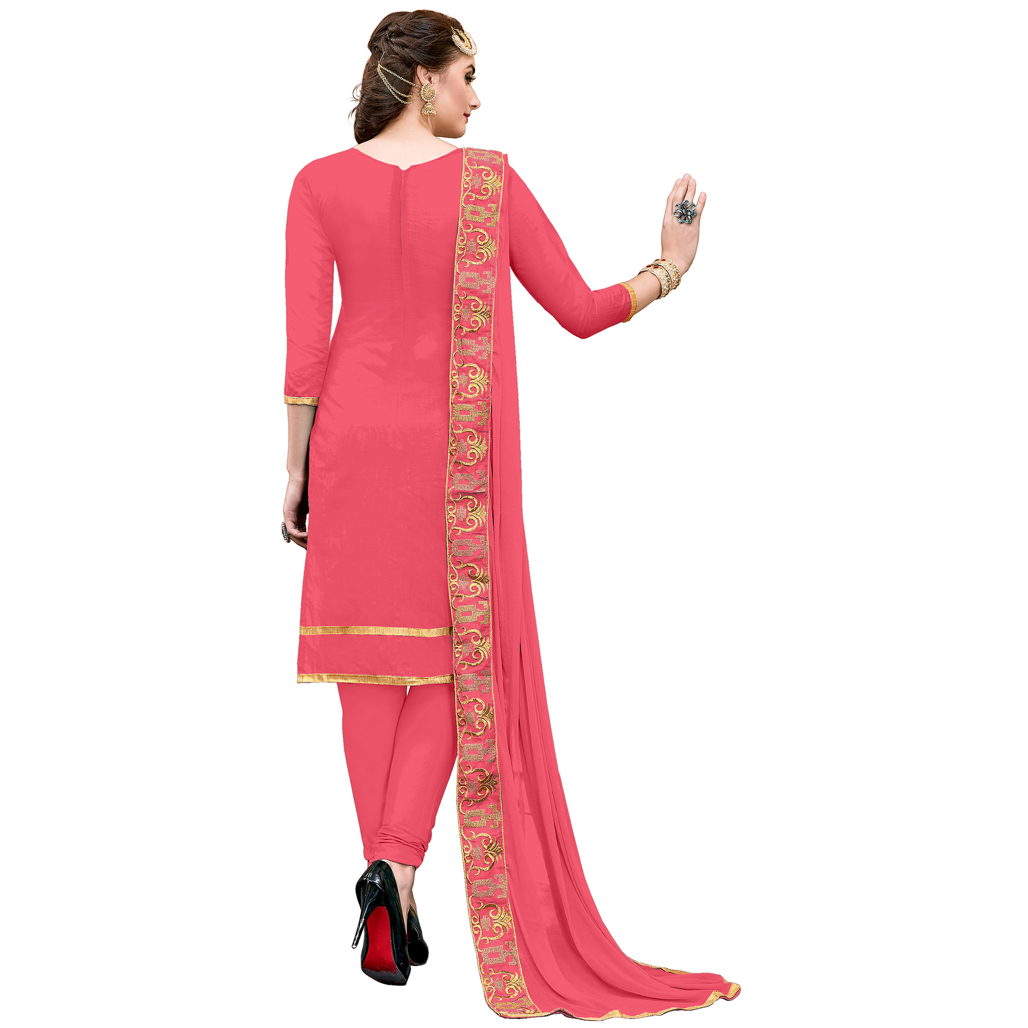 Pleasant Gajri Colored Party Wear Embroidered Modal Dress Material