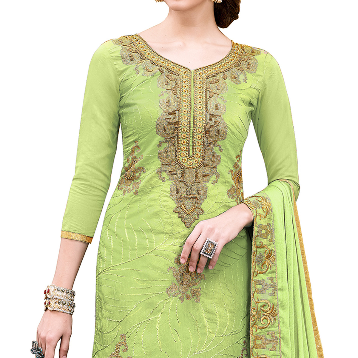 Elegant Pista Green Colored Party Wear Embroidered Modal Dress Material