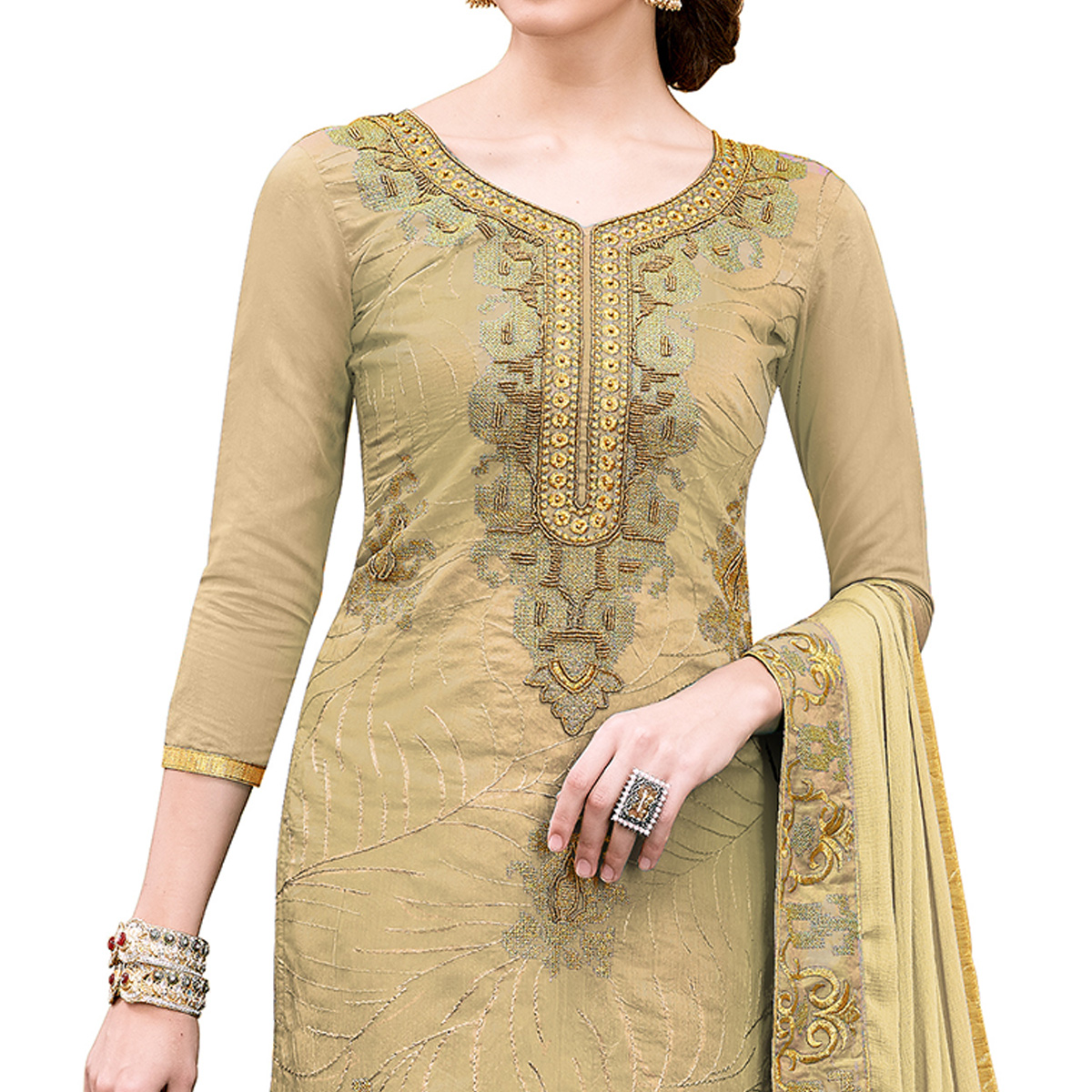 Alluring Chiku Colored Party Wear Embroidered Modal Dress Material