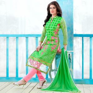 Impressive Green Colored Party Wear Embroidered Cotton Dress Material