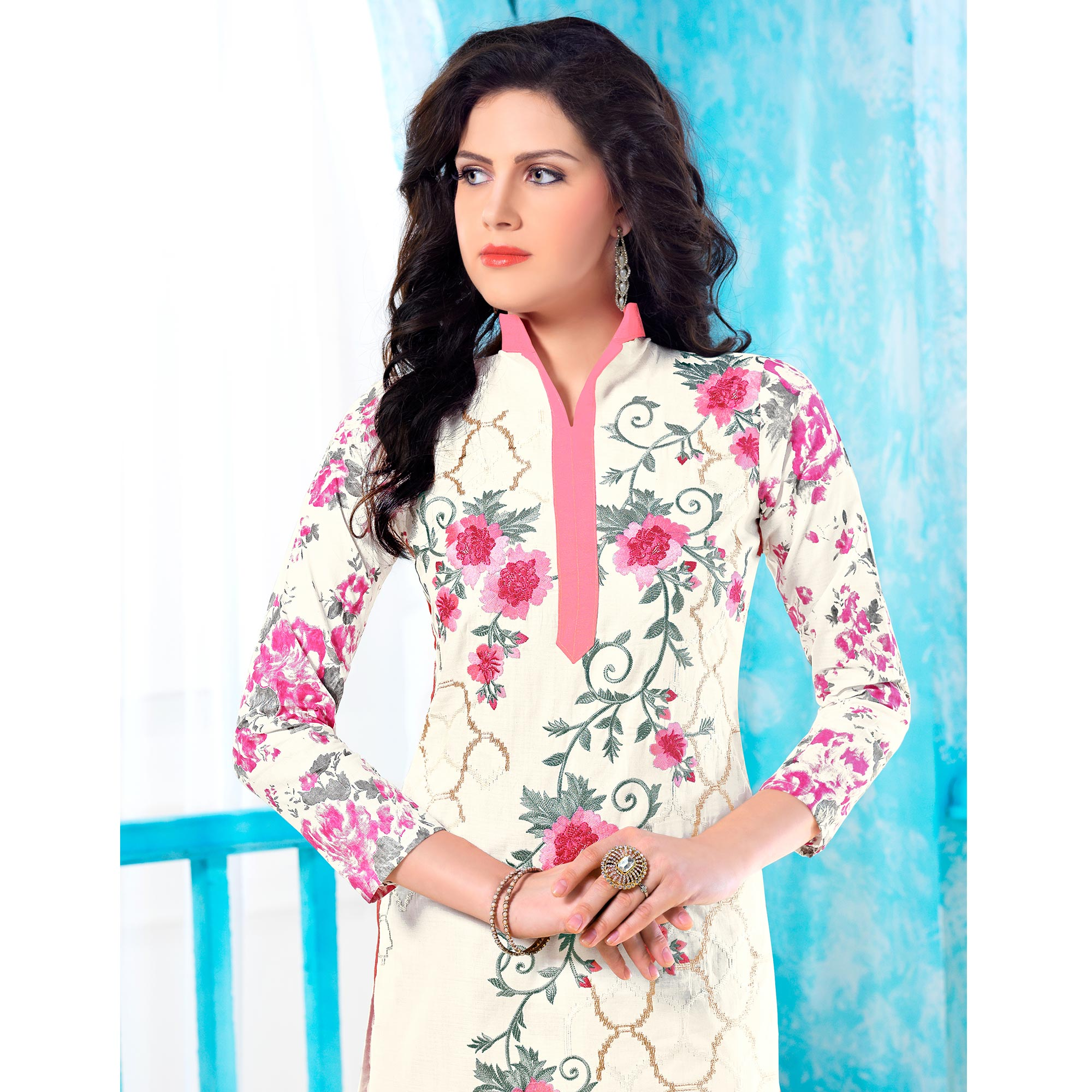 Innovative White Colored Party Wear Embroidered Cotton Dress Material