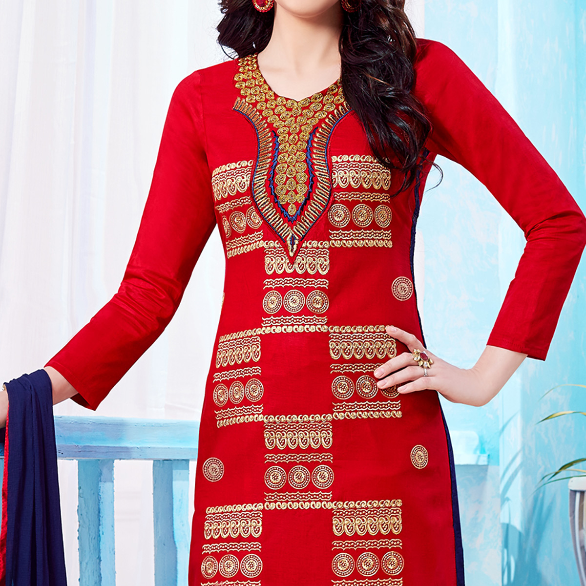 Gleaming Red Colored Party Wear Embroidered Cotton Dress Material