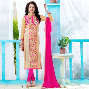 Exceptional Beige Colored Party Wear Embroidered Cotton Dress Material