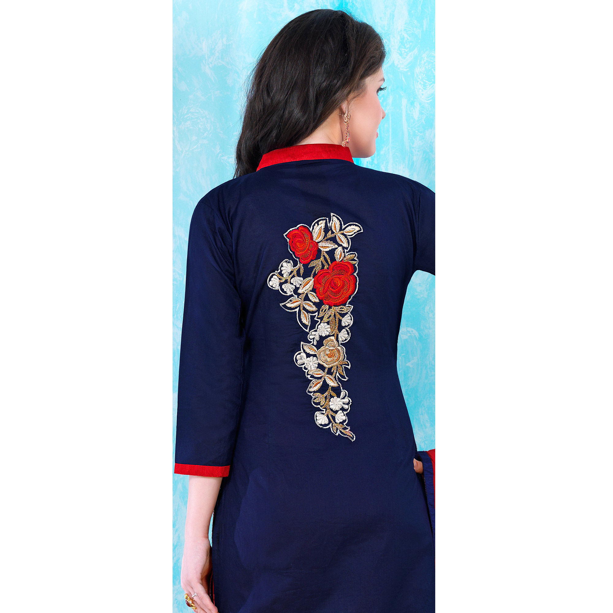 Excellent Navy Blue Colored Party Wear Embroidered Cotton Dress Material