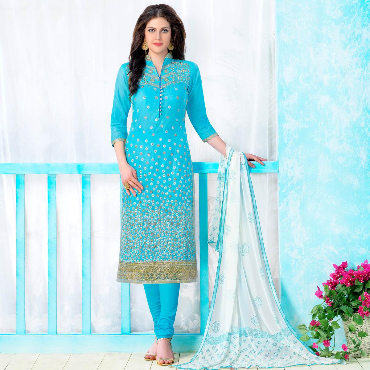 Ethnic Sky Blue Colored Party Wear Embroidered Cotton Dress Material