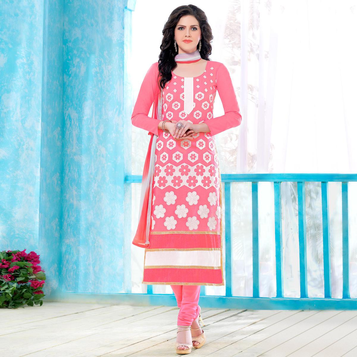 Starring Pink Colored Party Wear Embroidered Cotton Dress Material